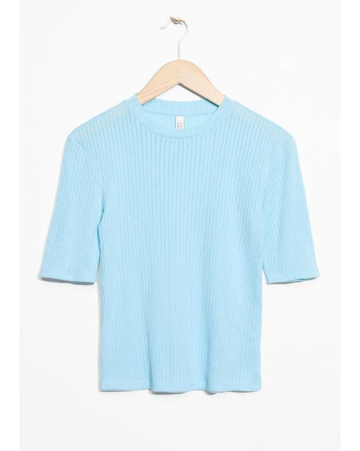 & Other Stories - Blue Ribbed Top - Lyst
