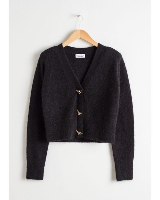 & Other Stories - Black Dinosaur Button Knit Cardigan - Lyst