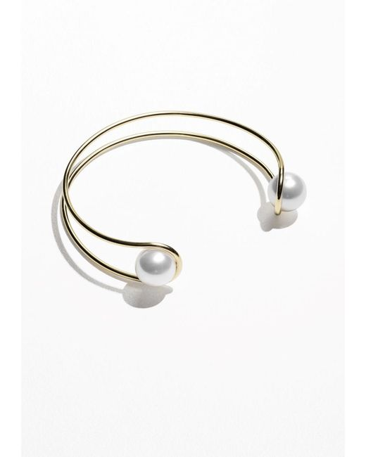 & Other Stories | White Stacked Brass And Pearl Choker | Lyst