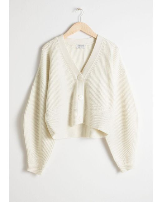 & Other Stories - White Cropped Cardigan - Lyst