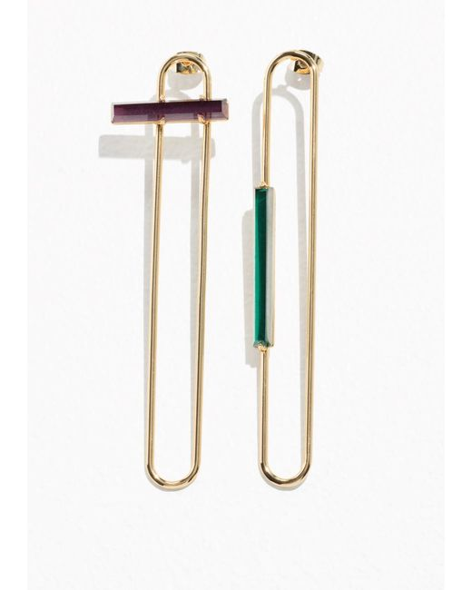& Other Stories | Metallic Tubular Wire Studs With Gems | Lyst