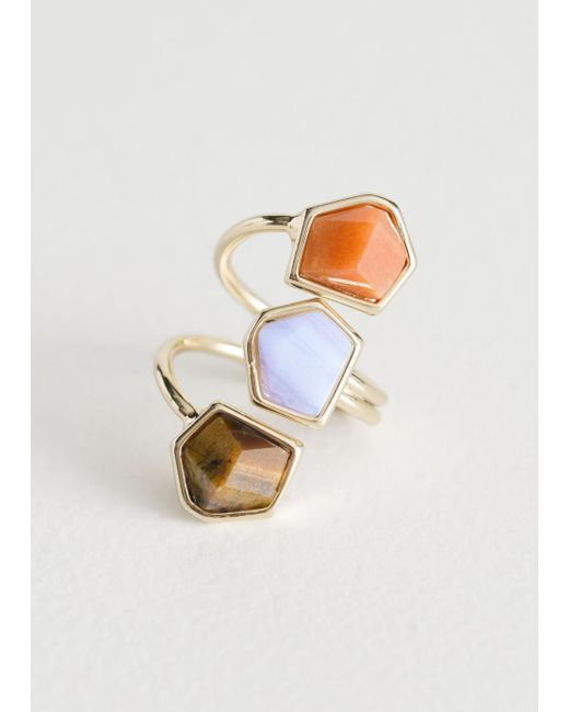 & Other Stories - Blue Trio Stone Swirl Ring - Lyst