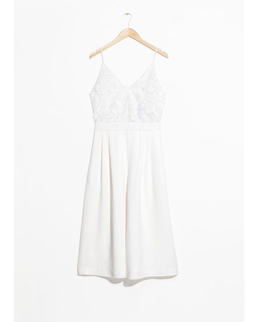 & Other Stories - White Lace Culotte Jumpsuit - Lyst