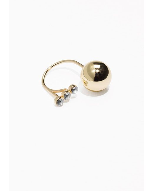 & Other Stories | Metallic Ball And Stone Open Ring | Lyst