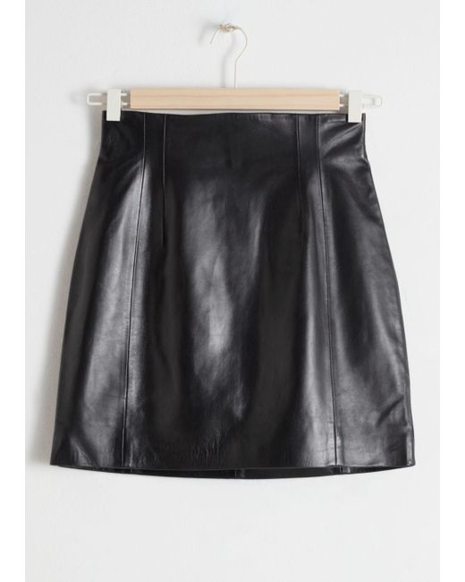 & Other Stories - Black High Waisted Leather Skirt - Lyst