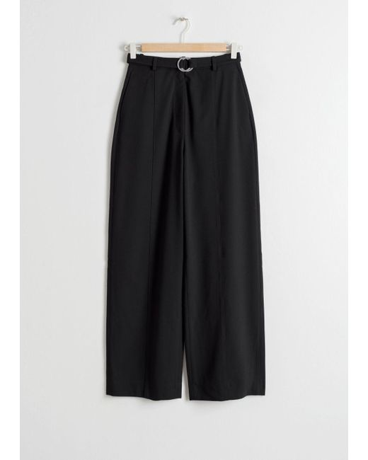 & Other Stories Black Duo O-ring Belted Pants