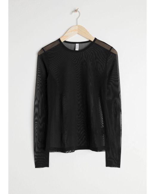 & Other Stories Black Mesh Long-sleeve T-shirt