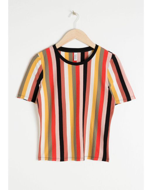 & Other Stories Black Fitted Striped Tee