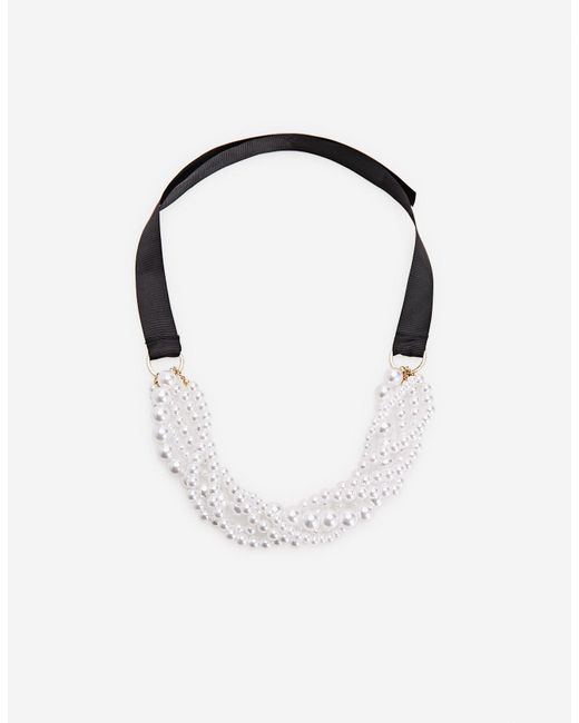 Stradivarius | Black Faux Pearl Necklace With Bow | Lyst