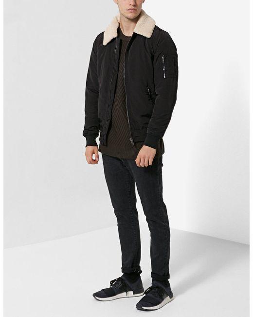 Stradivarius | Black Technical Bomber Jacket With Faux Fur Collar for Men | Lyst