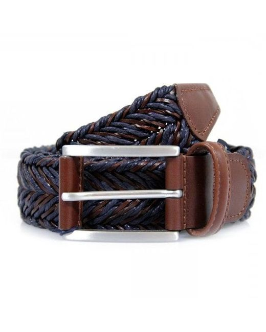 Andersons - Blue Anderson's Braided Twine Deep Navy Brown Belt for Men - Lyst