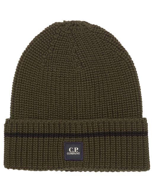 C P Company | Green Dark Olive Tab Logo Beanie Hat for Men | Lyst