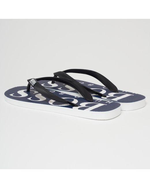 9fbccd360c74df ... BOSS - Dark Blue Wave Thing Flip Flops for Men - Lyst ...