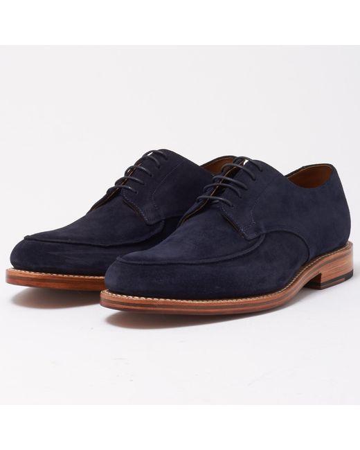 GRENSON | Blue Dean Navy Suede Shoe for Men | Lyst