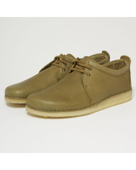 Clarks - Green Ashton Leather Shoes - Olive for Men - Lyst