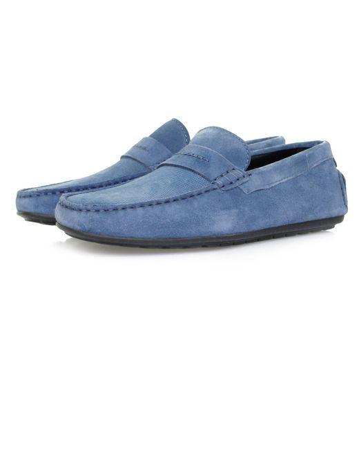 HUGO - Travelling Dandy Suede Leather Moccasin Shoes Slip-on Loafer, Medium Blue, 7 M Us-40 M Eu for Men - Lyst
