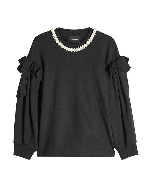 Simone Rocha - Black Beaded Ruffle Sweatshirt - Lyst