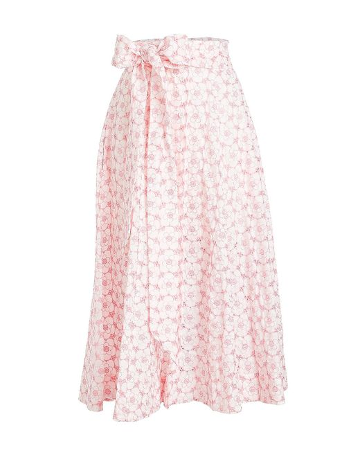 Lisa Marie Fernandez - Pink Cotton Skirt With Eyelet Cut-out Detail - Lyst