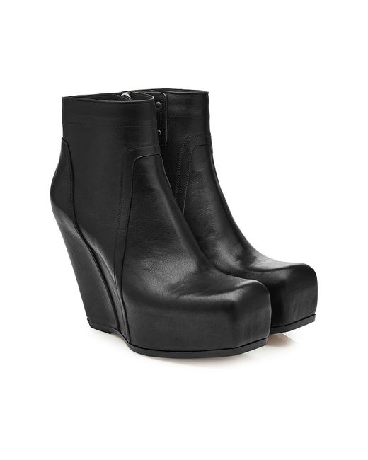 Rick Owens - Black Leather Platform Wedge Boots - Lyst