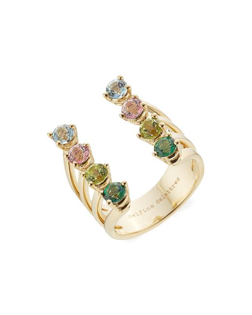Delfina Delettrez - Metallic 9kt Gold Ring With Topaz And Peridot - Lyst