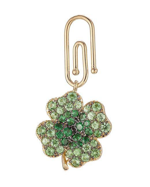 Aurelie Bidermann | Metallic 18kt Gold Clover Pendant With Tsavorites | Lyst