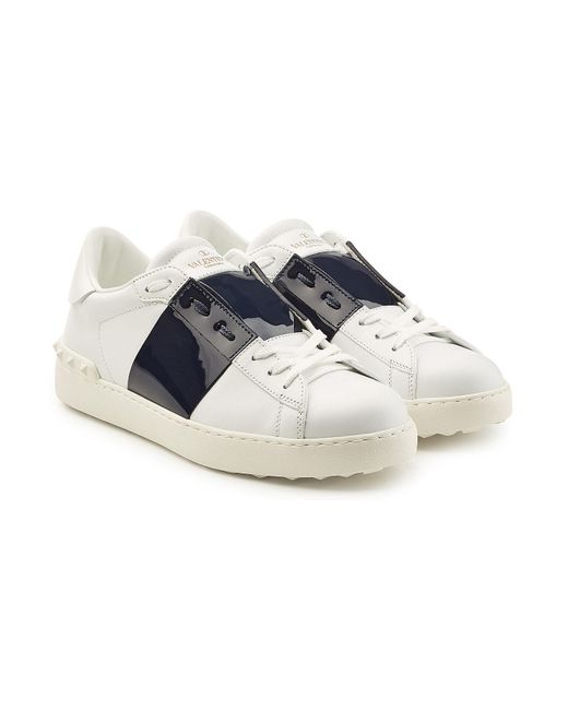 Valentino - Blue Open Leather Sneakers for Men - Lyst