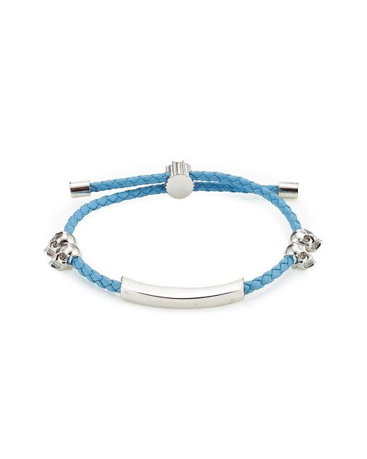 Alexander McQueen | Blue Leather Bracelet With Skull Motifs | Lyst
