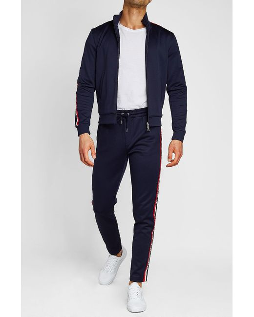 f95683635 quality 37ad6 30edb moncler zip thru track top in blue for men lyst ...