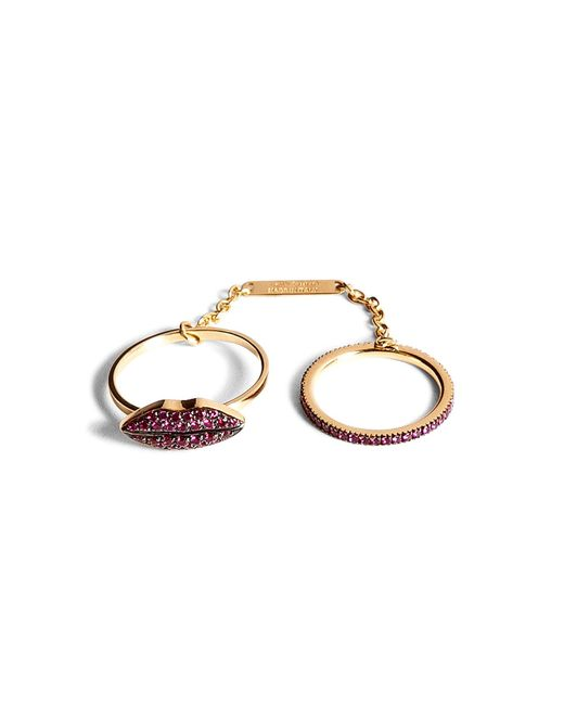 Delfina Delettrez | Metallic 18kt Gold Double Ring With Ruby Lips And Band | Lyst