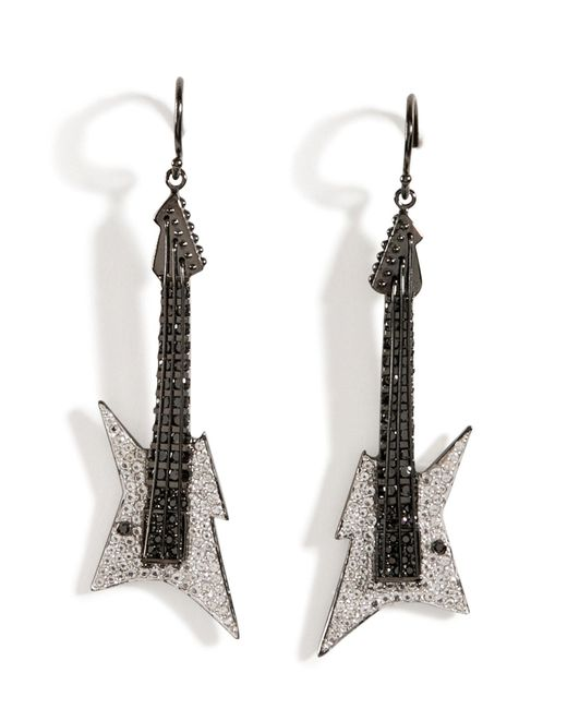 Lynn Ban | Black Rhodium Silver Guitar Earrings B In White | Lyst