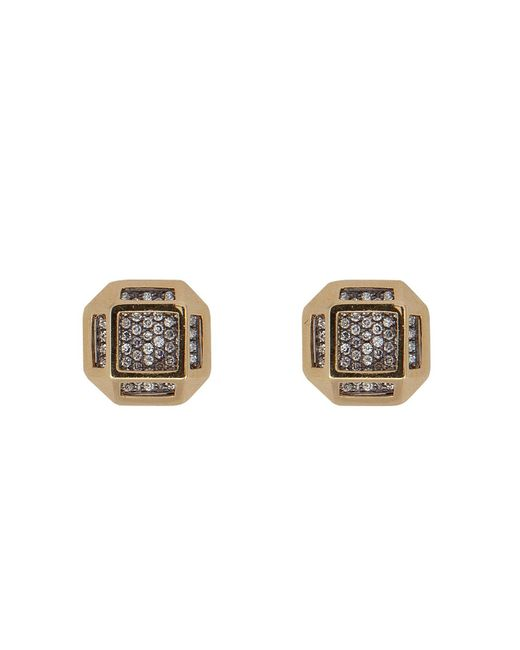 Noor Fares | Metallic 18kt Gold Cube Cage Earrings With Diamonds | Lyst