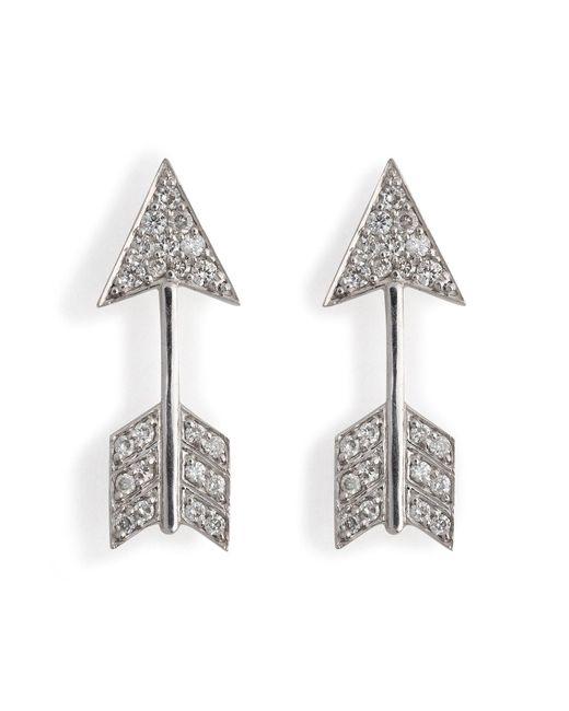 Anita Ko | 18kt White Gold Arrow Earrings With Diamonds | Lyst