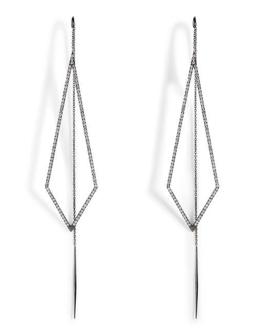 Diane Kordas | 18k Black Gold Triangular Drop Earrings | Lyst