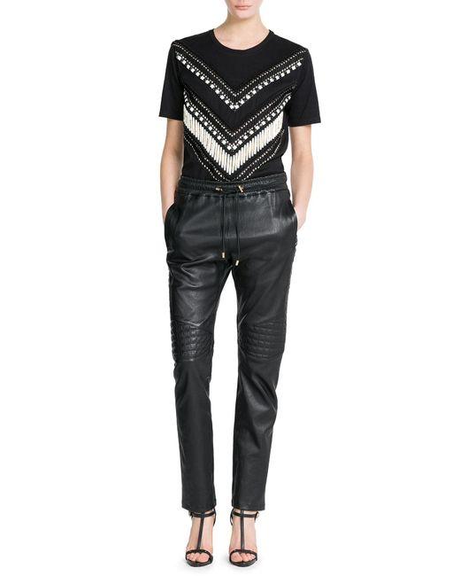 Balmain   Black Embroidered T-shirt   Lyst