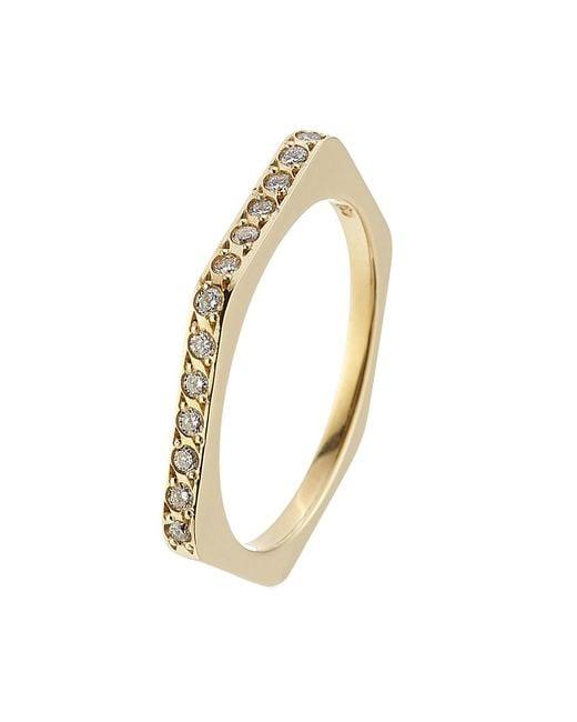 Ileana Makri - Metallic 18kt Yellow Gold Ring With White Diamonds - Lyst