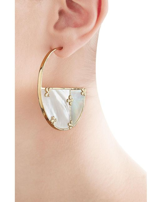 Aurelie Bidermann | Metallic Bianca 18kt Gold Plated Earrings With Mother Of Pearl | Lyst