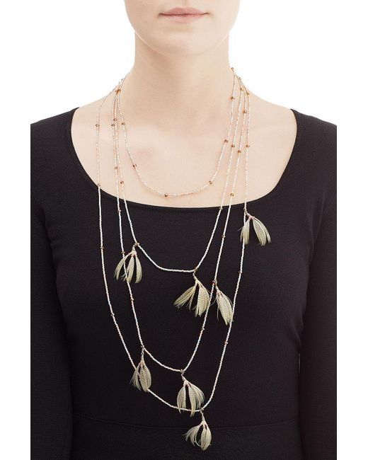 Valentino   Metallic Feather And Bead Embellished Necklace   Lyst