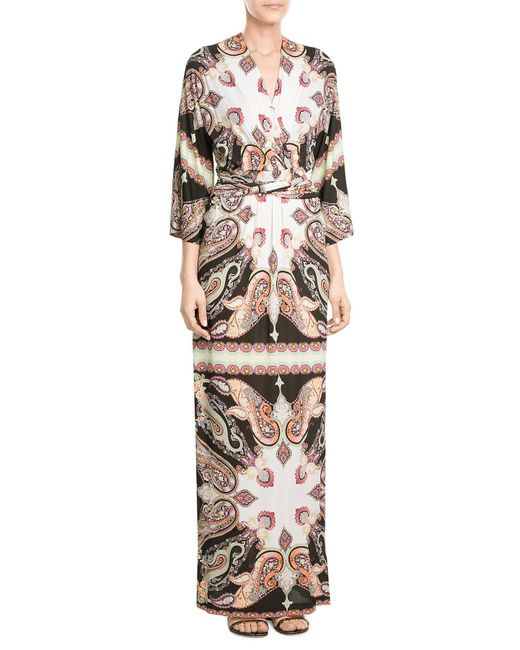 Etro | White Printed Maxi Dress | Lyst