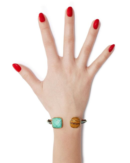 Gas Bijoux   Metallic Embellished Duality Serti Bracelet   Lyst