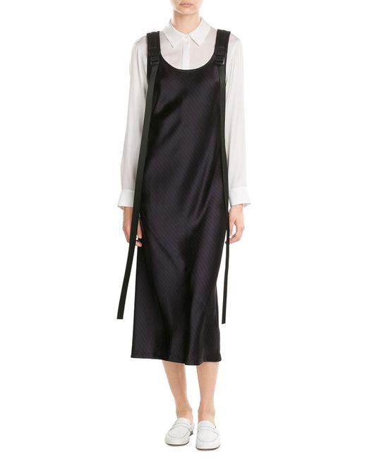 DKNY | Black Pinstriped Midi Dress | Lyst