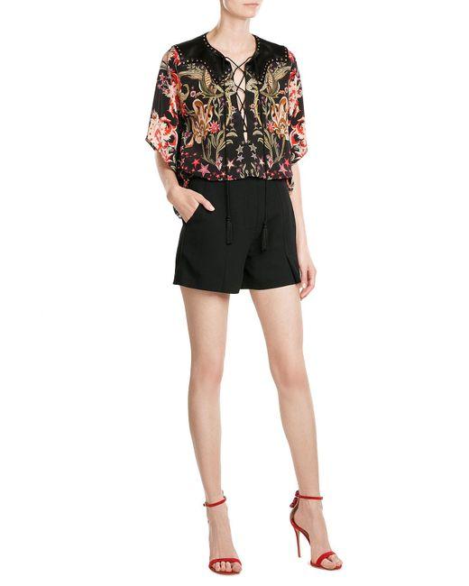 Roberto Cavalli   Red Printed Silk Tunic Blouse   Lyst