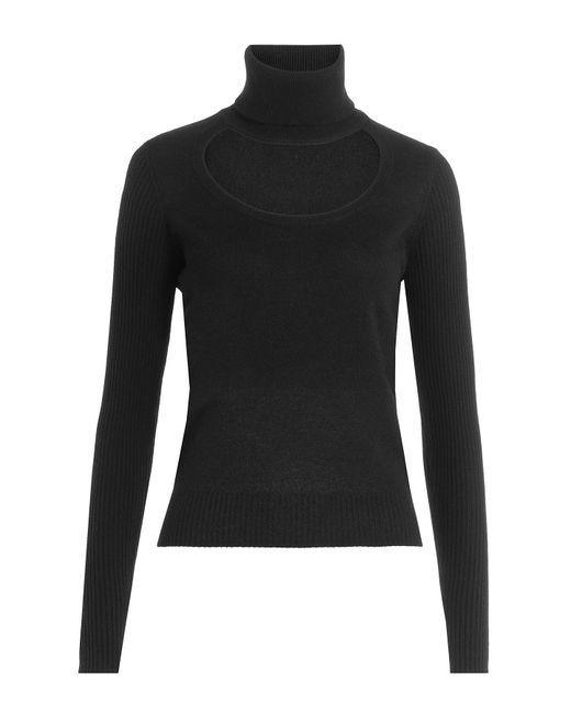 Diane von Furstenberg | Black Wool-cashmere Turtleneck With Cutout | Lyst