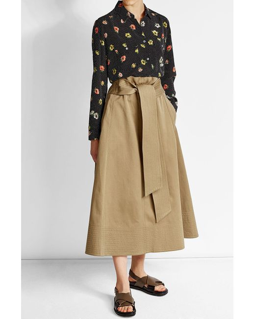 JOSEPH | Natural Cotton Midi Skirt With Tie Belt | Lyst