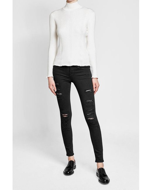 A.P.C.   Multicolor Ribbed Cotton, Silk And Cashmere Turtleneck Top   Lyst