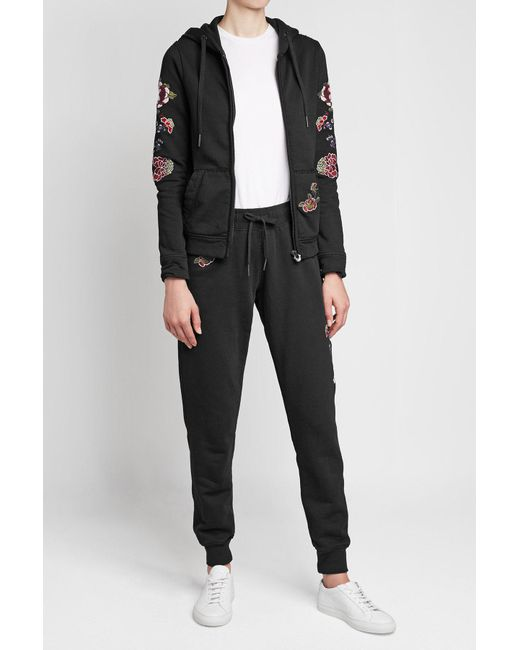 True Religion | Black Embroidered Cotton Sweatpants | Lyst