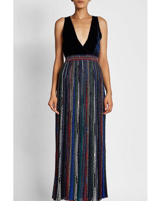 d44e16bb8 ... Missoni - Blue Dress With Velvet Bustier, Pleated Skirt And Metallic  Thread - Lyst