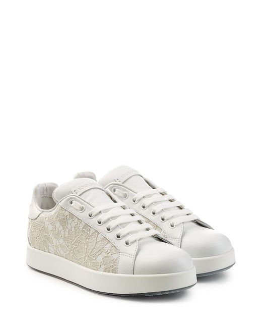 Dolce & Gabbana | White Leather Sneakers With Lace | Lyst