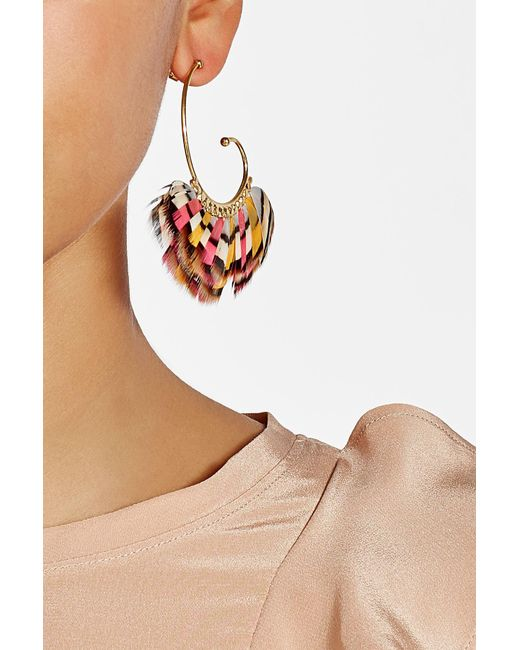 Gas Bijoux | Metallic Buzios 24k Gold Plated Earrings With Feathers | Lyst