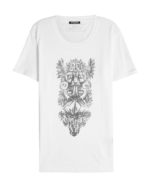 Balmain | White Printed Cotton T-shirt for Men | Lyst