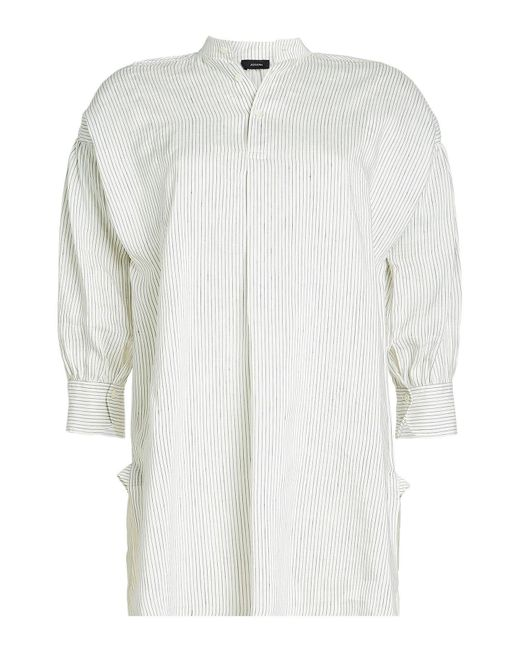 Joseph - White Striped Linen And Silk Blouse - Lyst